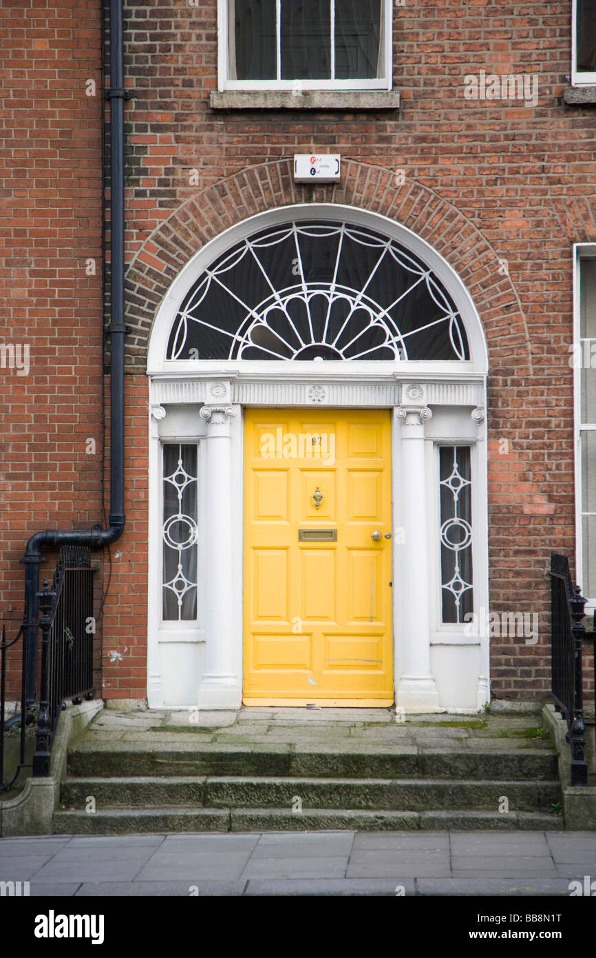 Door entrance of Georgian house at Lower Leeson Street, Dublin, Ireland - Stock Image