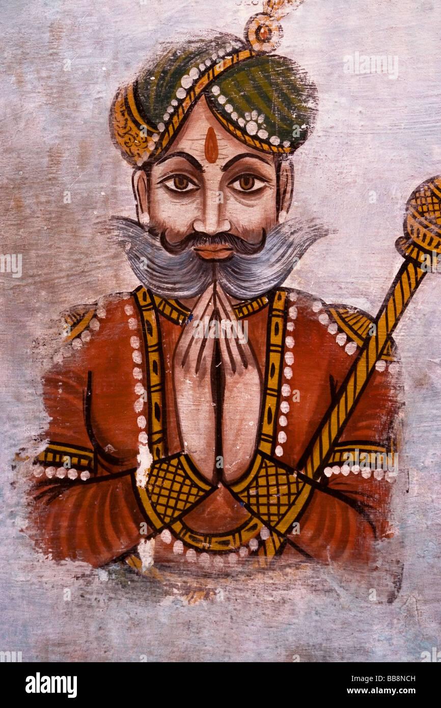 Indian Wall Painting of Maharaja (King), North India - Stock Image