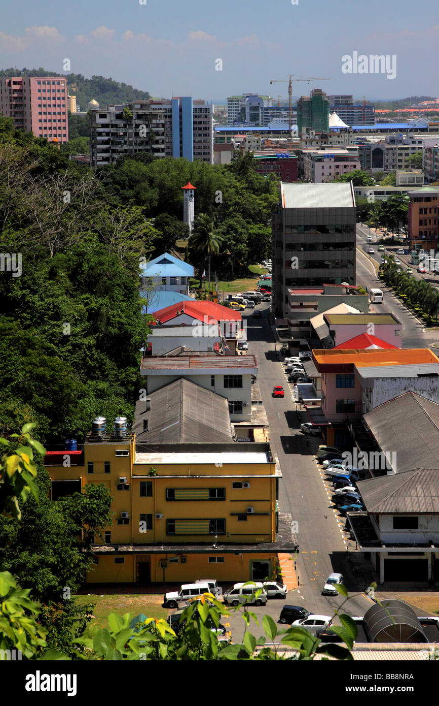 View to Atkinson Clock Tower from Signal Hill Kota Kinabalu Borneo Malaysia Asia - Stock Image