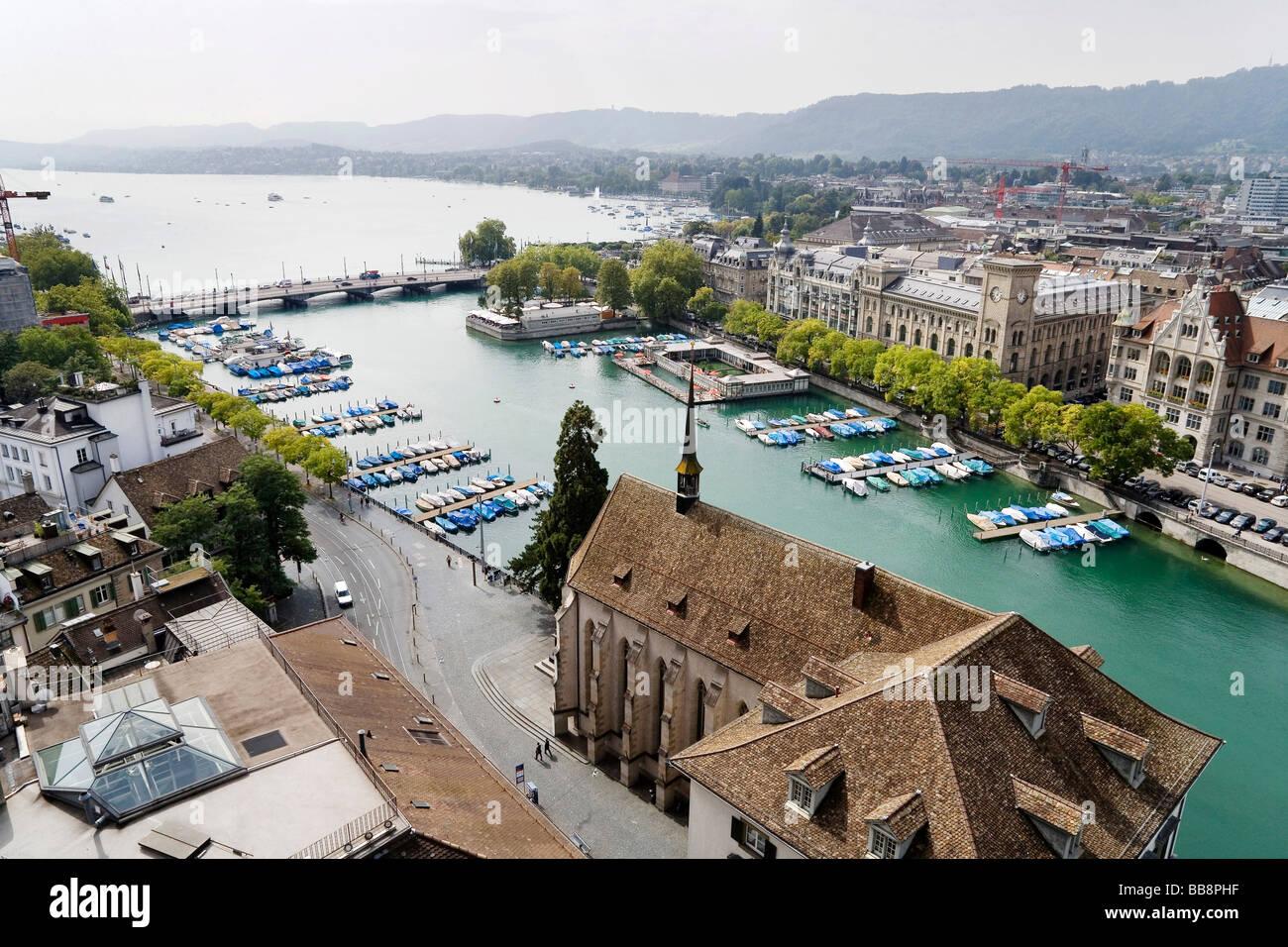 View of the historic centre of Zurich, Wasserkirche Church and Lake Zurich, Switzerland, Europe - Stock Image