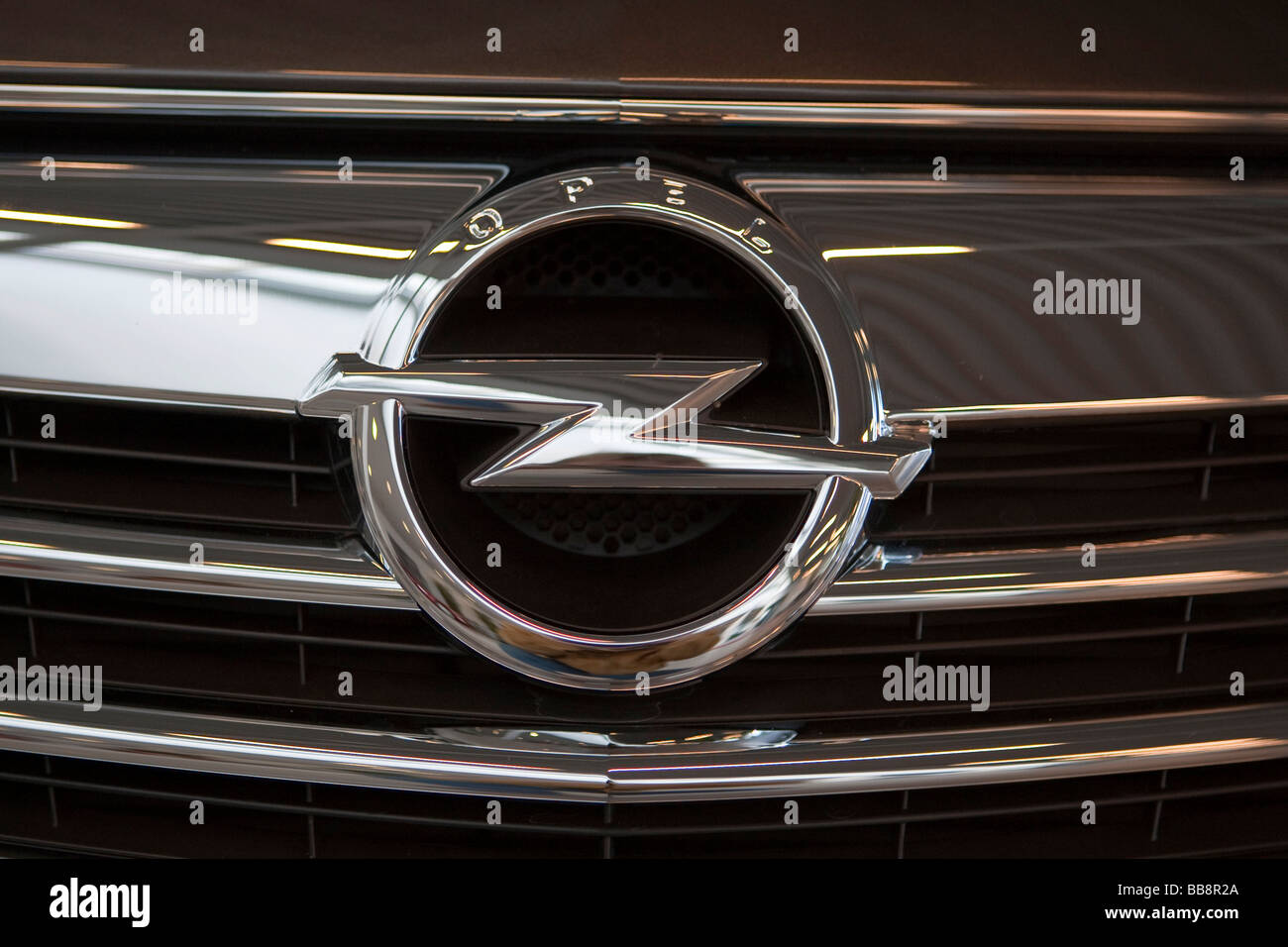 Grille face panel with the company logo of the automobile brand OPEL INSIGNIA, Germany - Stock Image