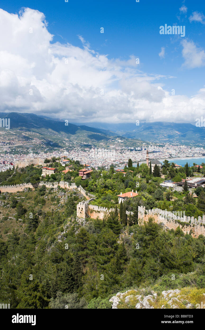 View over the city from the Inner Castle (Ic Kale), Alanya, Mediterranean Coast, Turkey - Stock Image