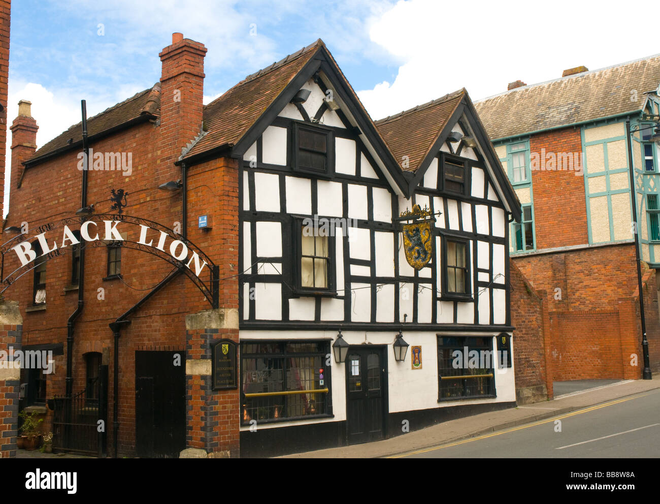 The Black Lion pub Hereford reputedly haunted England - Stock Image