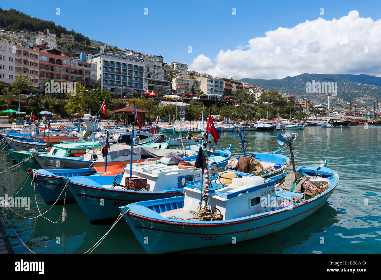 Local Fishing Boats in the Harbour, Alanya, Mediterranean Coast, Turkey - Stock Image