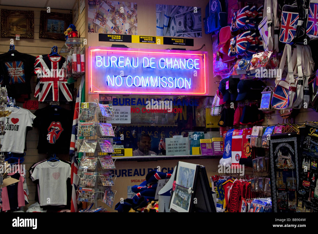 Bureau De Change in tourist Souvenirs & gift shop Westminster London - Stock Image