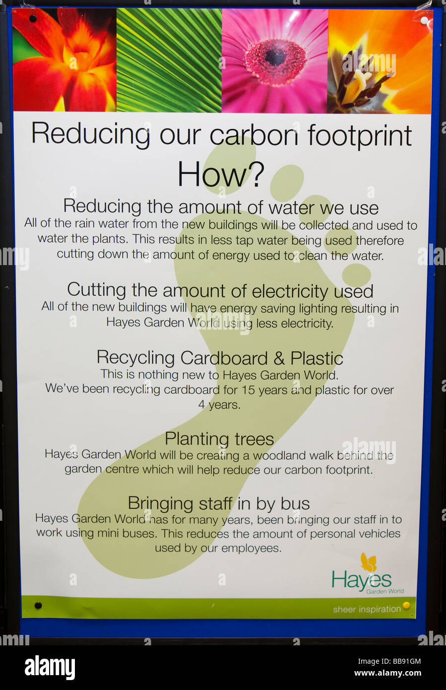 A poster outlining how Hayes Garden Centre is reducing its carbon footprint in Ambleside Cumbria UK - Stock Image