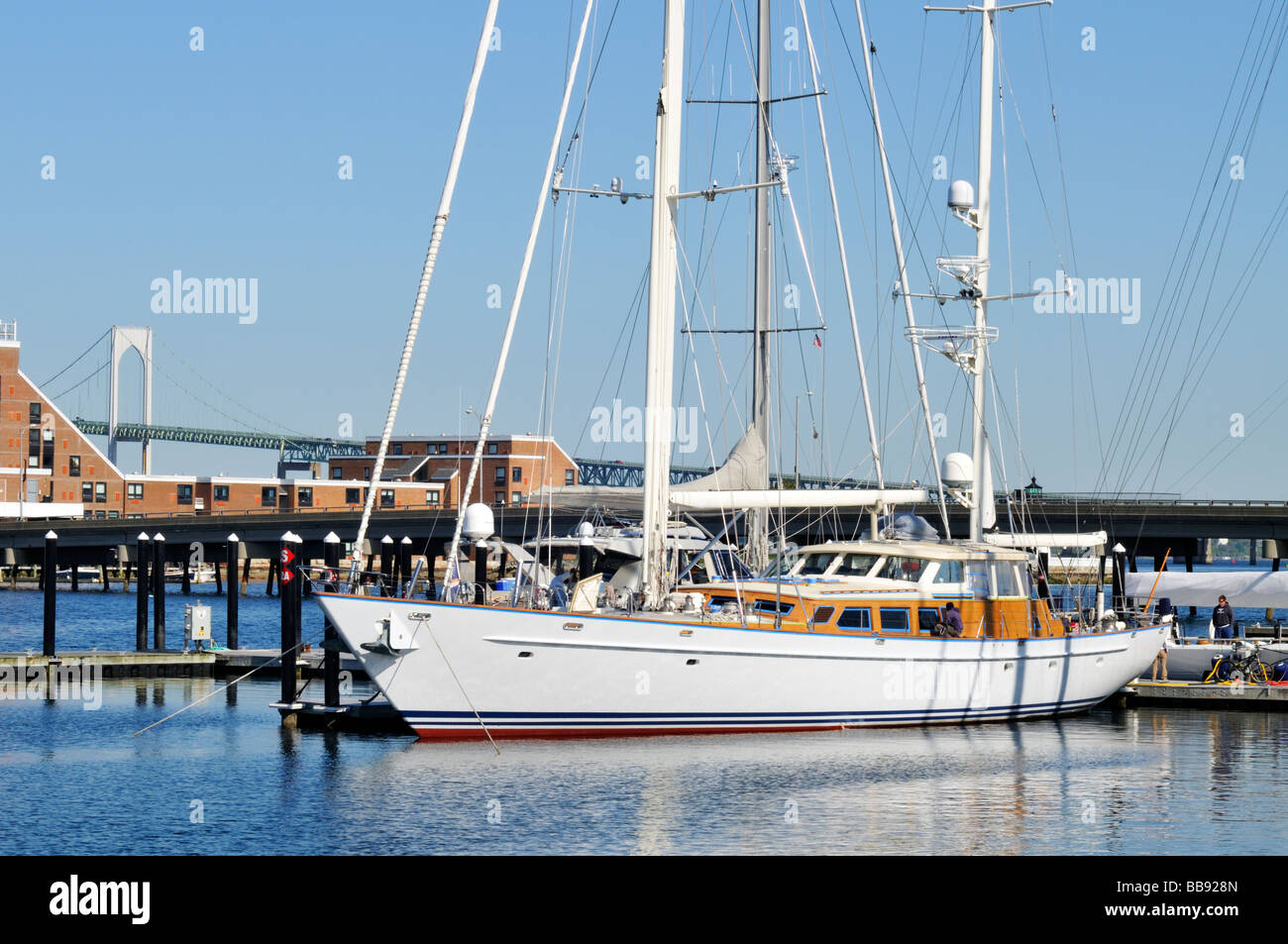 Large sailboat at dock in Newport Harbor Rhode Island USA