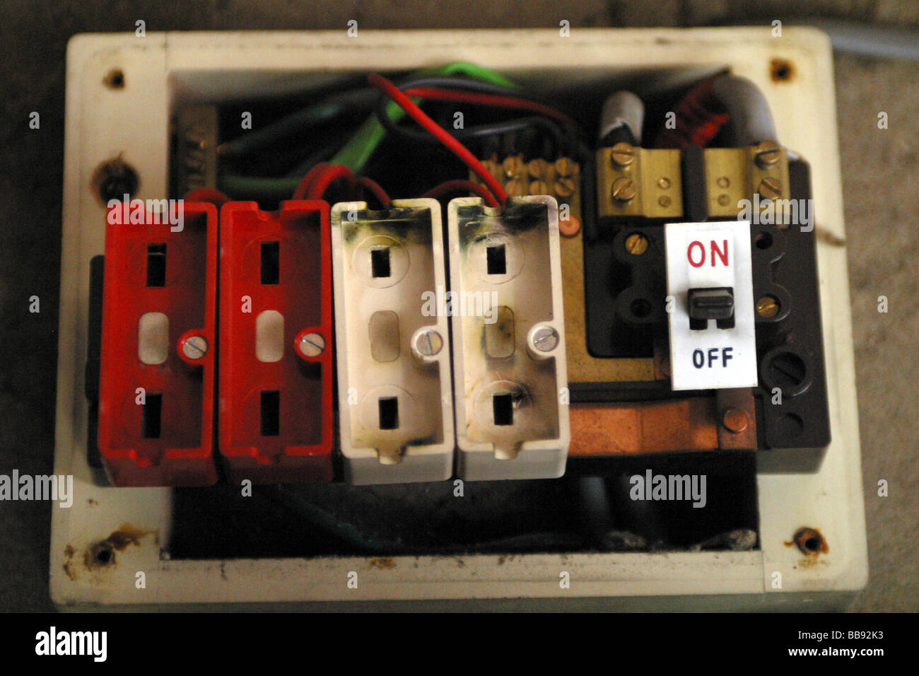 old style wire fuse box with no fuses installed stock photo rh alamy com fuse box wire connectors fuse box wire clamps