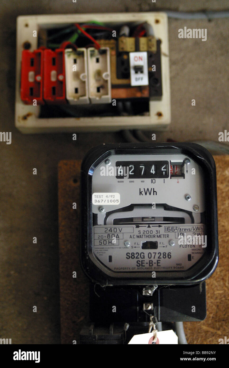 electric meter and a old style wire fuse box stock photo ... old style fuses and fuse box