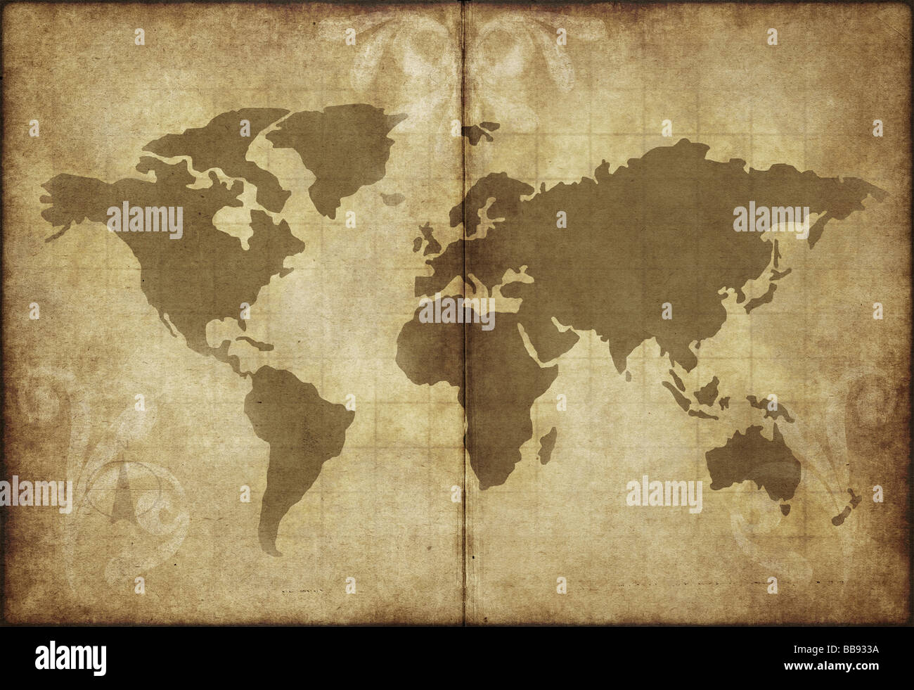 great image of old and worn parchment with world map Stock Photo