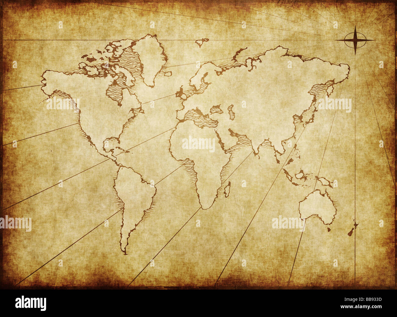 an old world map drawn onto parchment paper Stock Photo