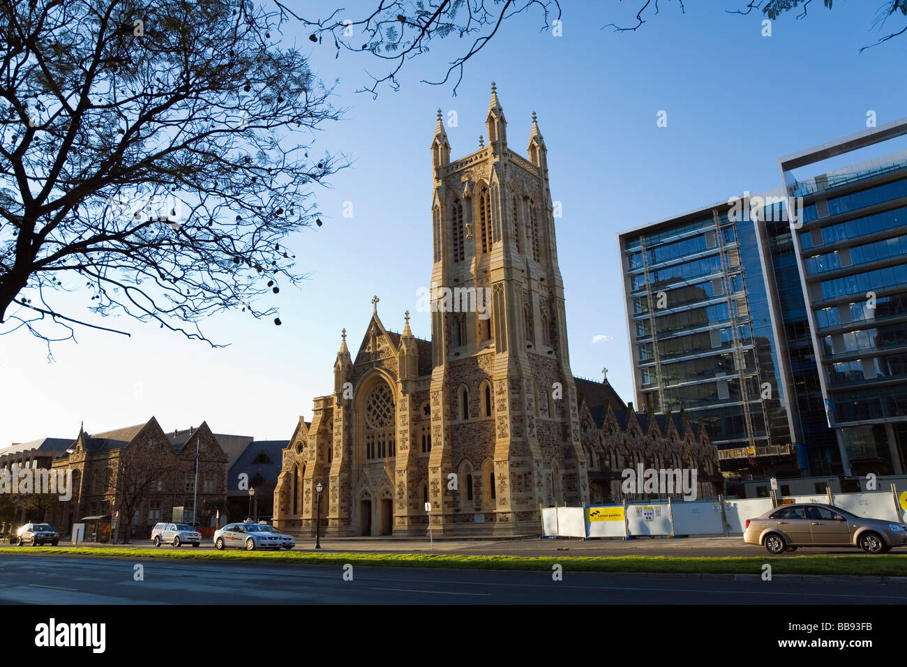 St Francis Xavier Cathedral on Victoria Square. Adelaide, South Australia, AUSTRALIA - Stock Image