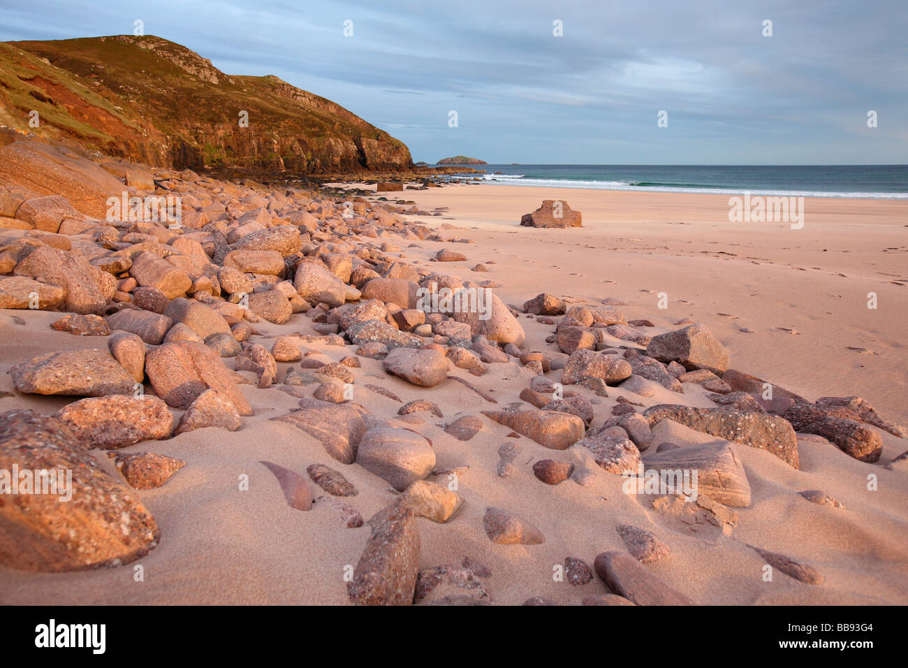 beach in early morning light Sandwood Bay most remote beach in UK Sutherland Northern Scotland Great Britain UK - Stock Image