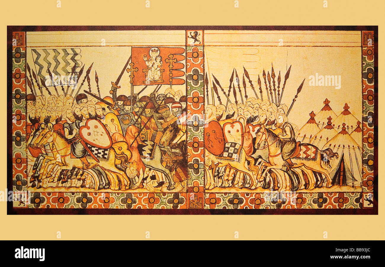 Battle between Moors and Christians in the 13th century From Songs to the Virgin Mary by King Alfonso X the Wise - Stock Image