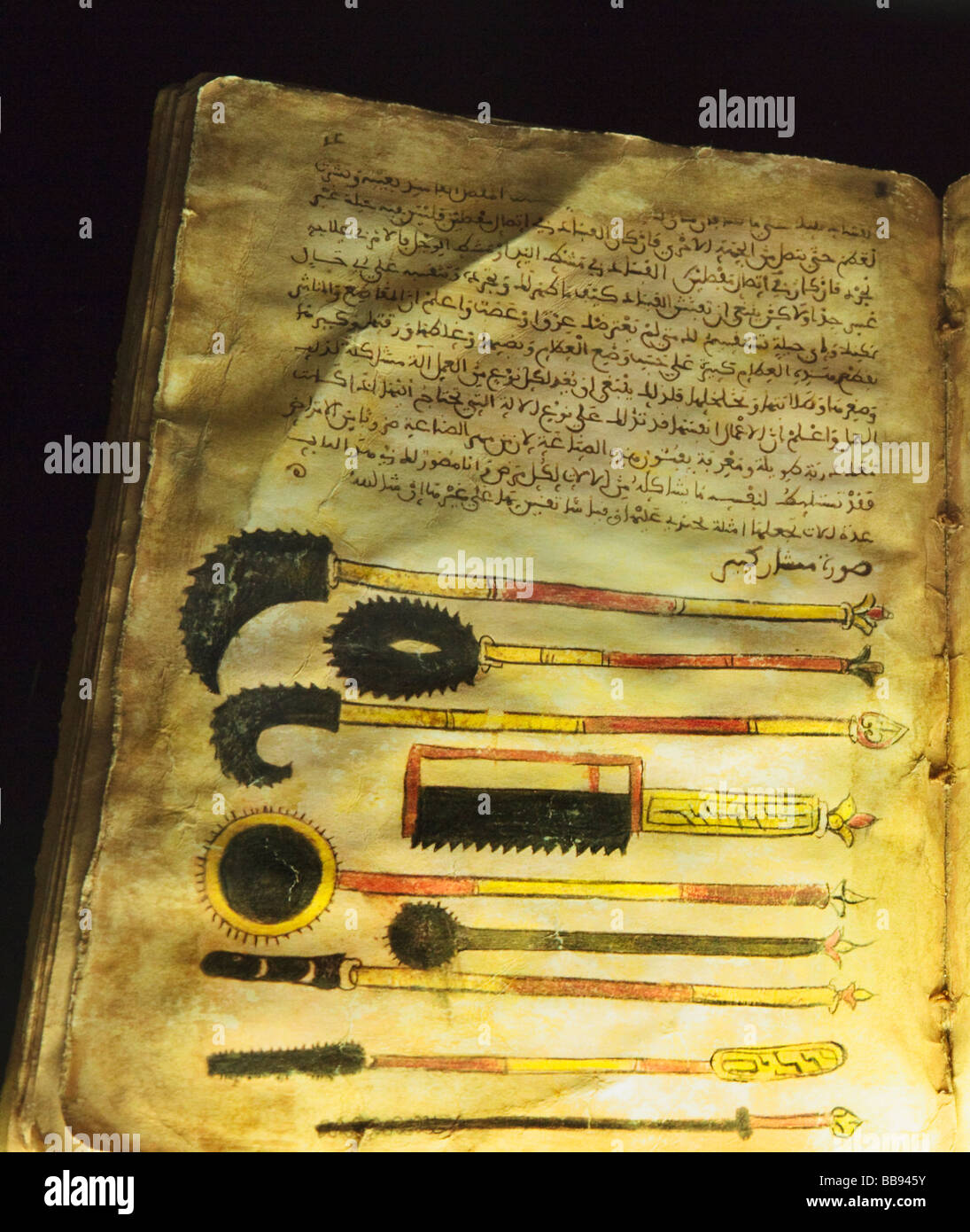 Illustrations of surgical instruments from a 13th century book Treatise on Medicine by al Zahrawi - Stock Image