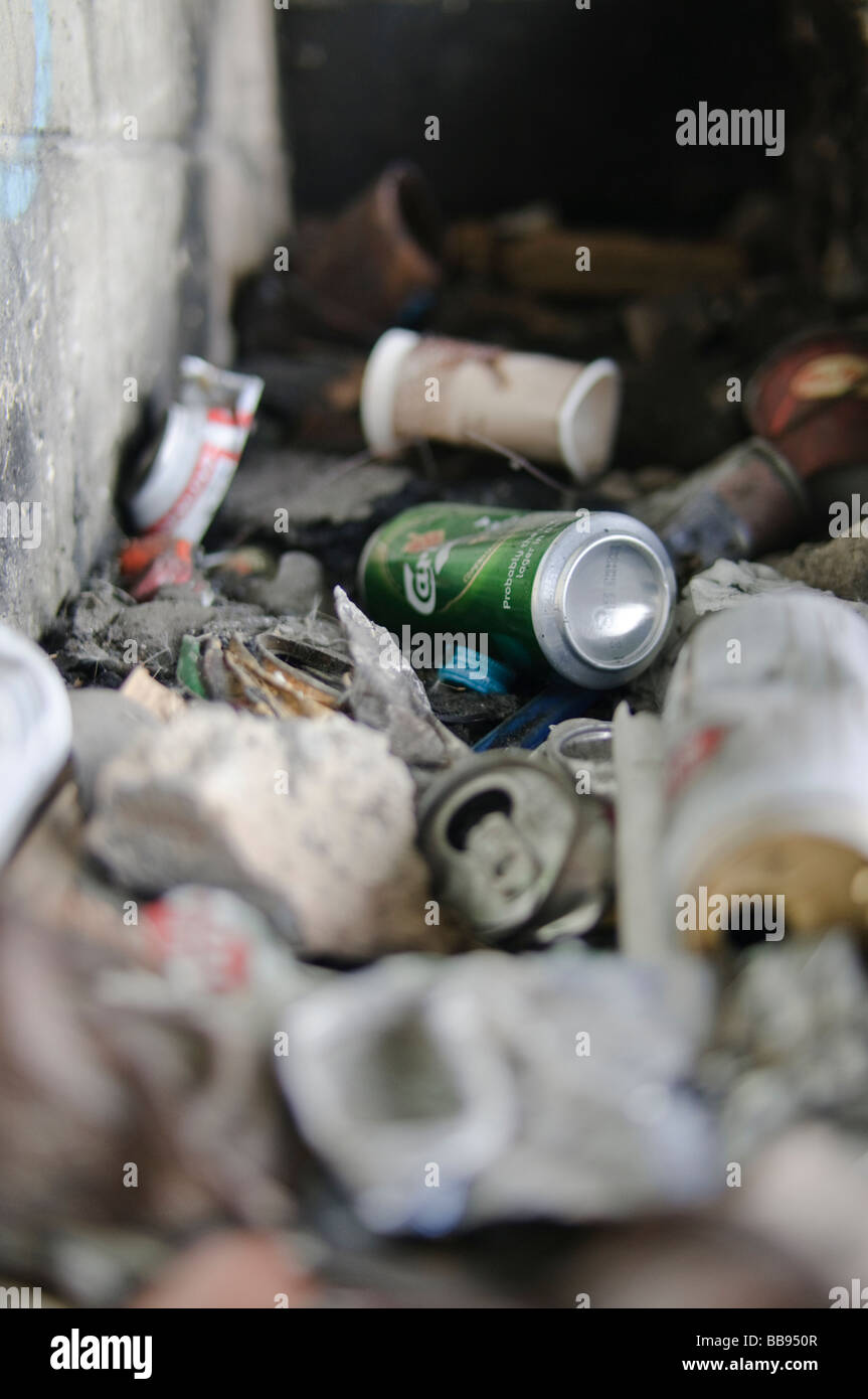 Pile of discarded litter including beer tins, drinks cans, crisp bags - Stock Image