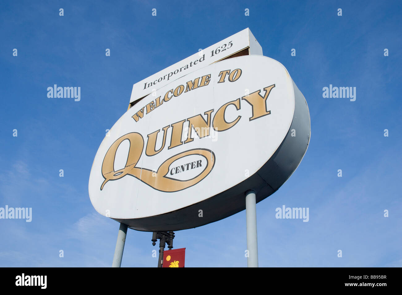 welcome to quincy center sign in quincy massachusetts usa Stock Photo