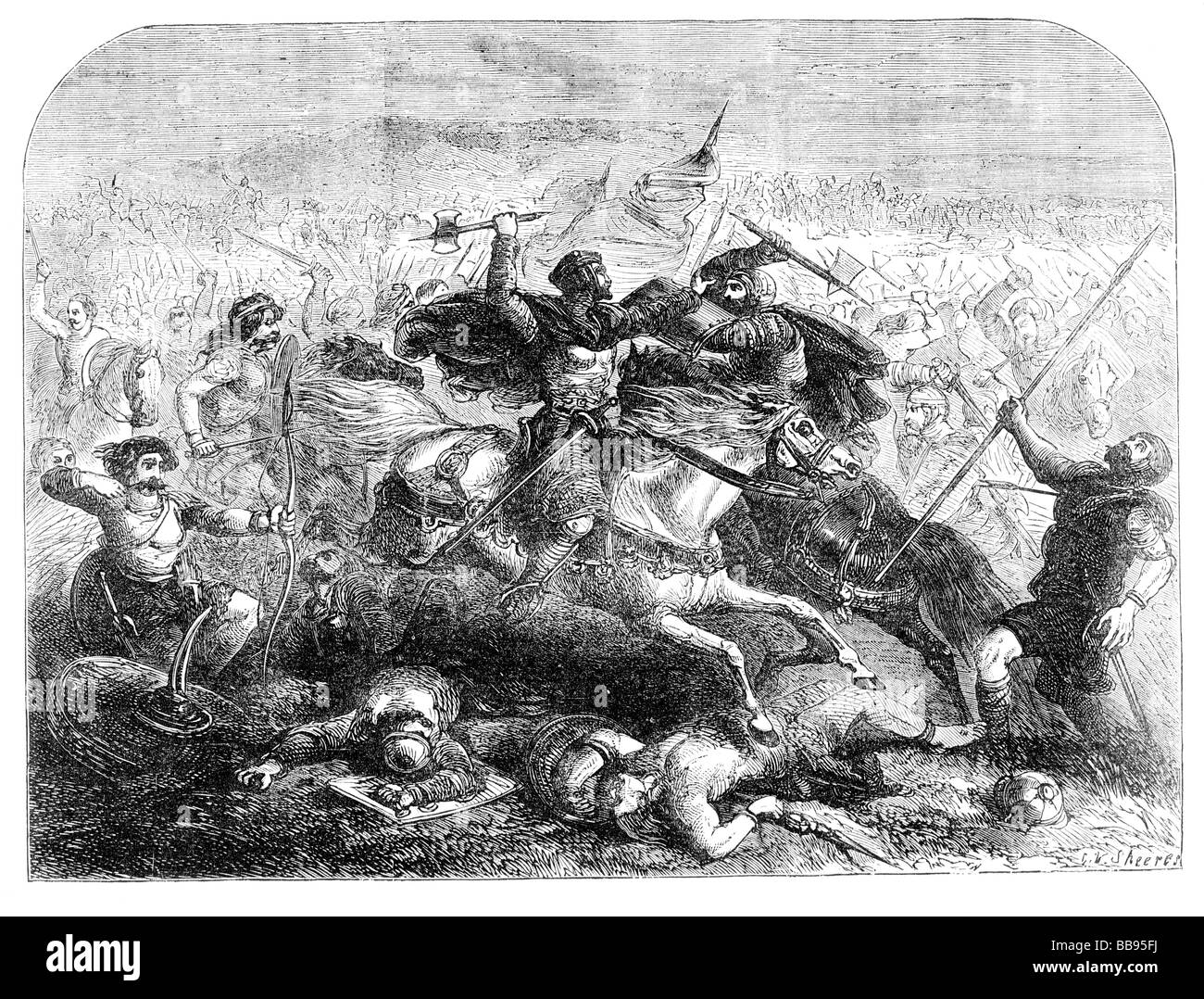 A Depiction of The Defeat of the Saxons by Arthur in the 6th Century Stock Photo