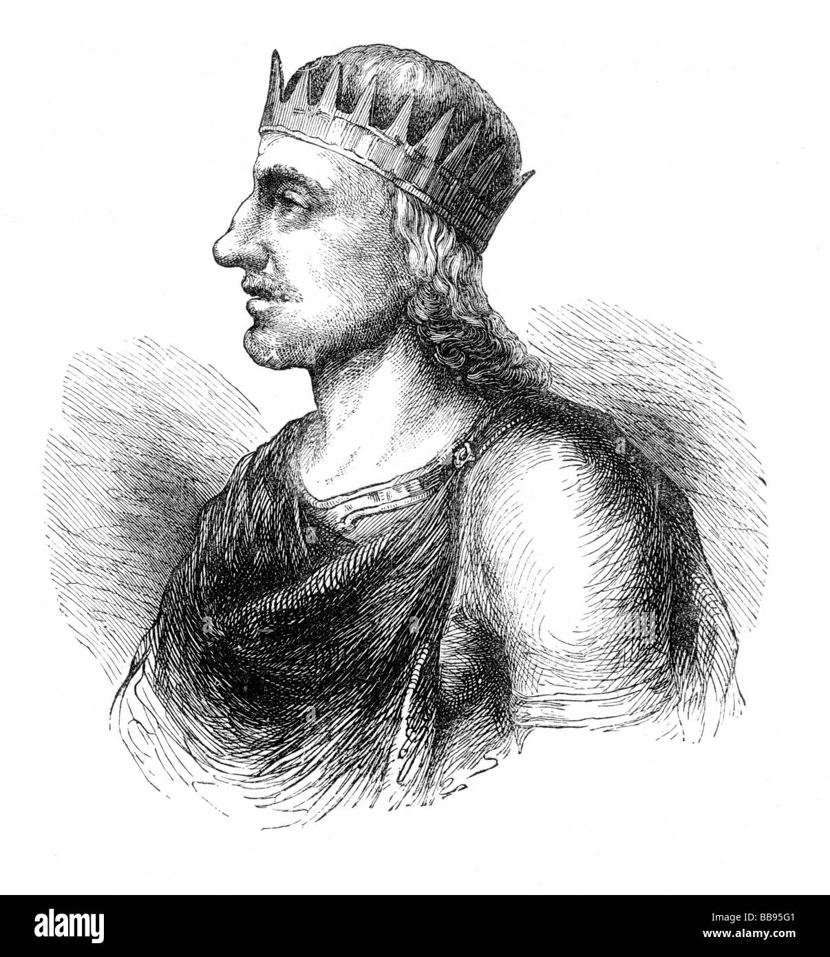 Egbert or Ecgberht King of Wessex from 802 to 839 Portrait Stock Photo