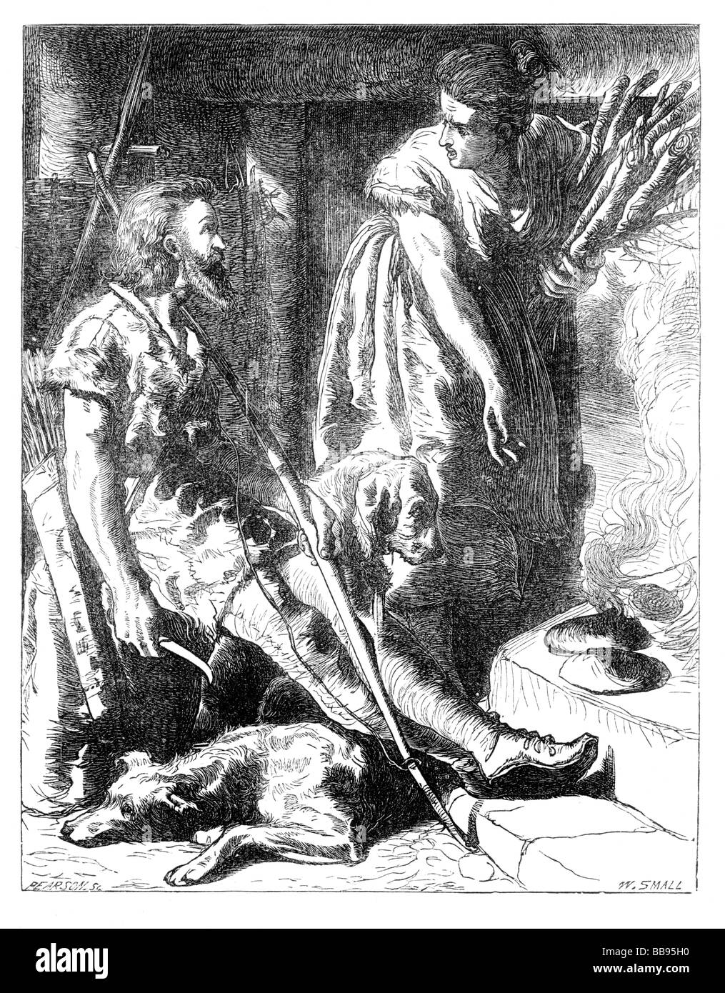 Engraving illustrating the popular legend of King Alfred the Great burning the peasant woman s cakes Stock Photo