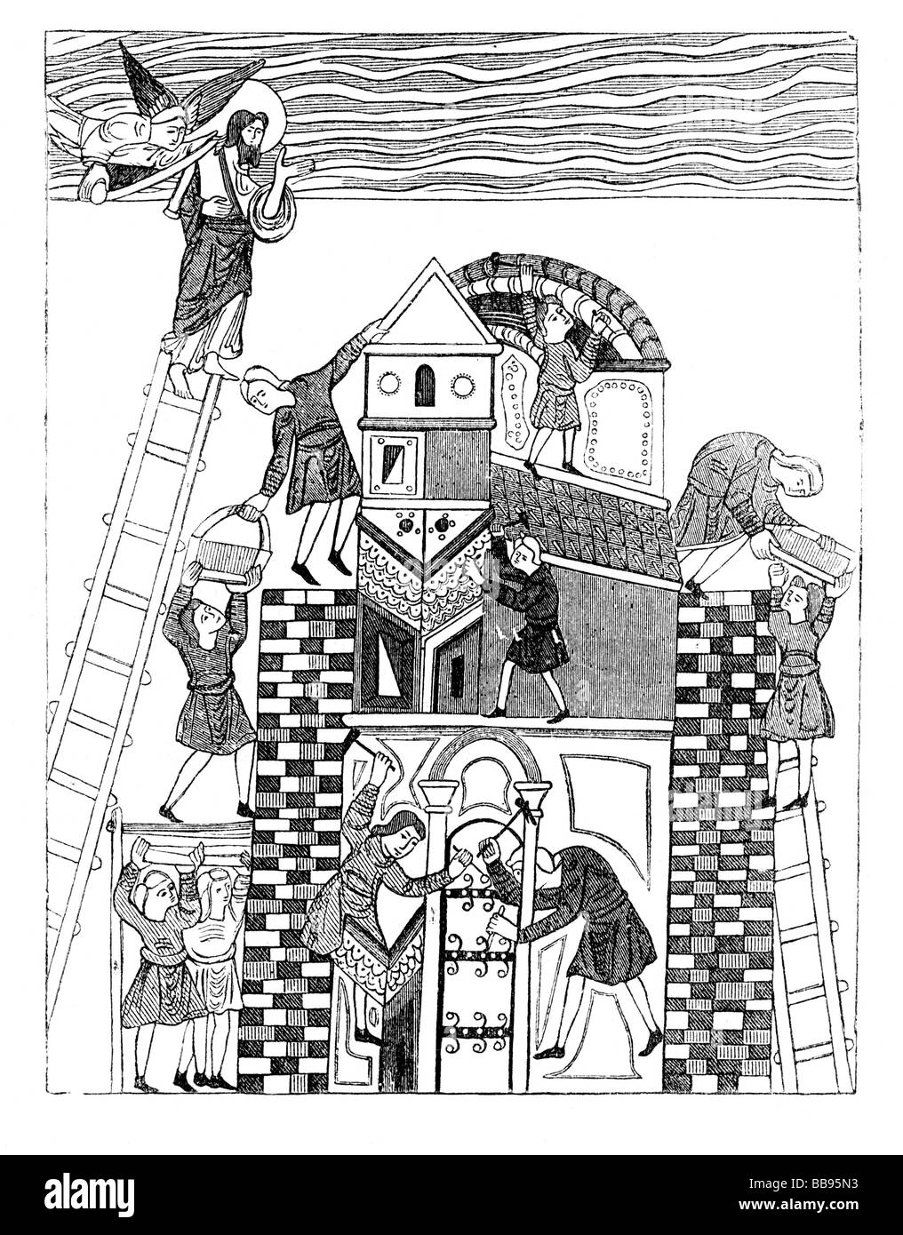 Building The Tower of Babel Illustration from an Anglo Saxon manuscript Stock Photo