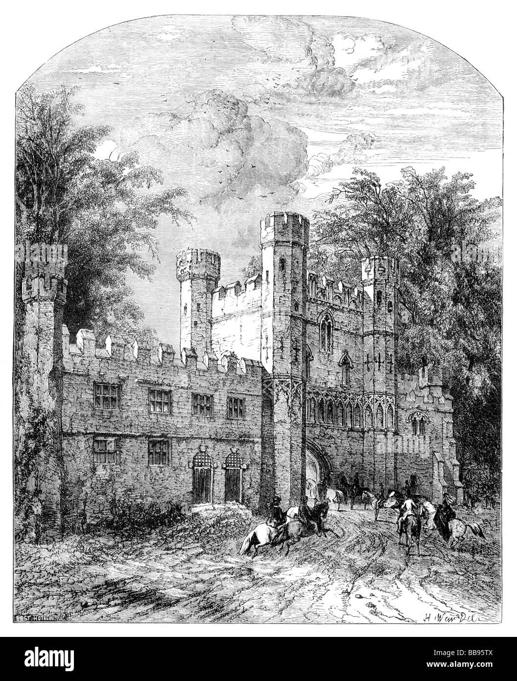 Illustration Battle Abbey as it may have appeared in the 19th Century Stock Photo
