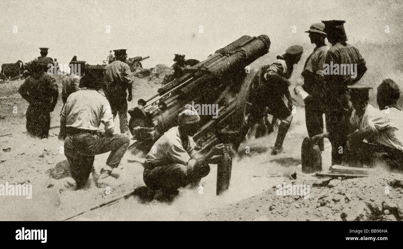 A British battery in action on the Gallipoli Peninsula. - Stock Image