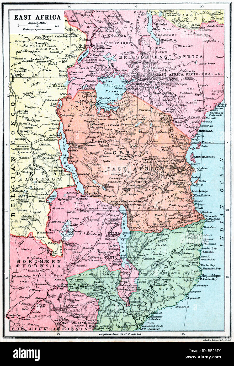 Map of East Africa at beginning of First World War. - Stock Image