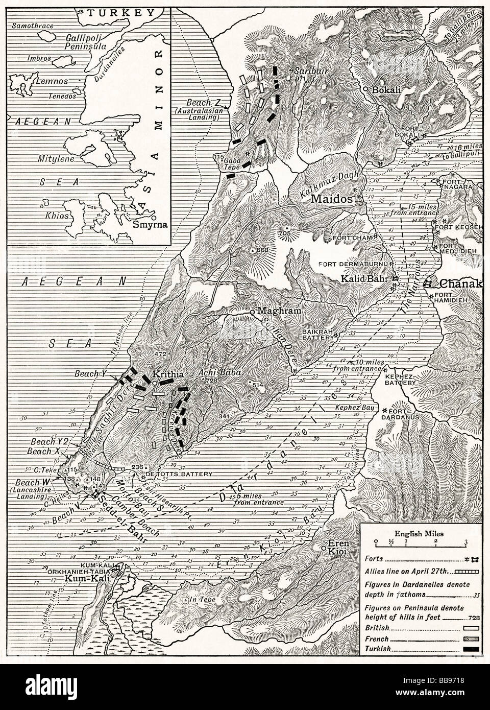 The Gallipoli Campaign Map illustrating operations of Allies under Sir Ian Hamilton from the landing on April 25 - Stock Image