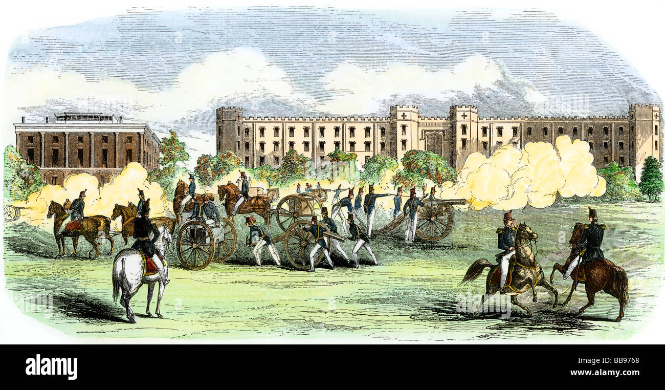 Artillery practice at the US Military Academy West Point 1850s. Hand-colored woodcut - Stock Image