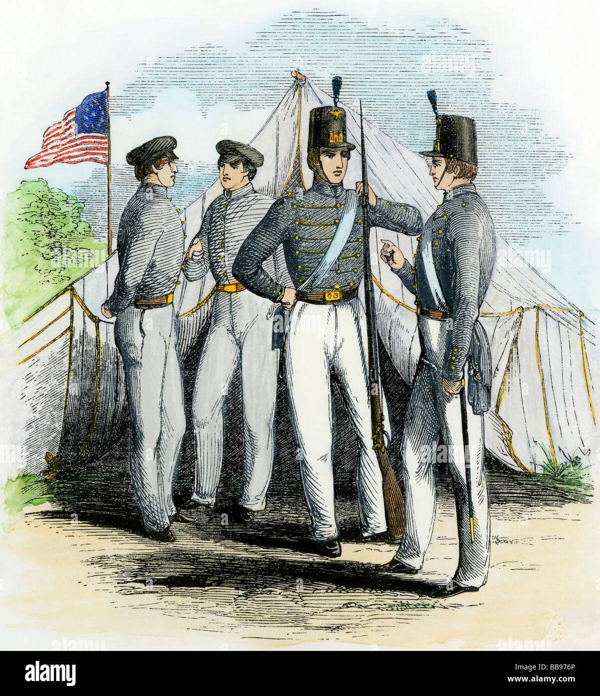 Cadets at the US Military Academy West Point 1850s. Hand-colored woodcut - Stock Image