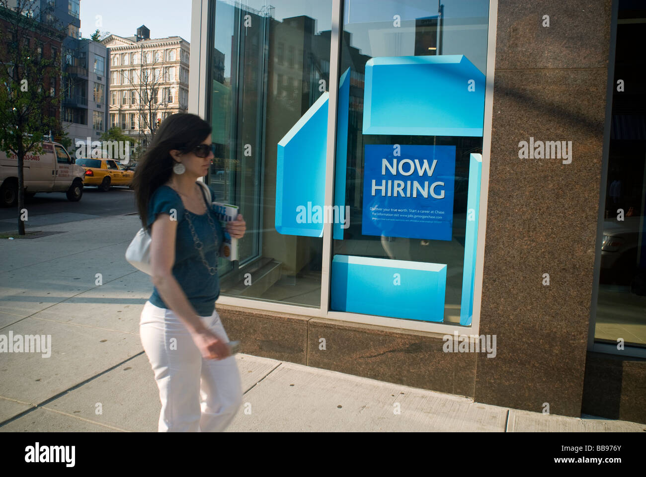 A JP Morgan Chase Bank in the East Village New York on Friday May 15 2009 advertises that it is hiring Richard B Stock Photo