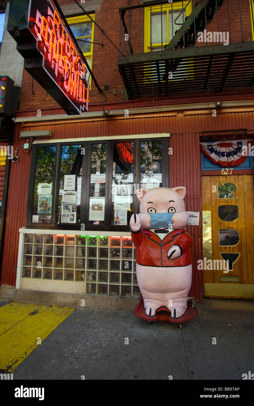 The pig mascot outside Rudys Bar and Grill in the Hell s