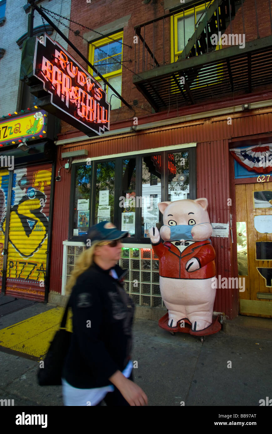 The pig mascot outside Rudy s Bar and Grill in the Hell s