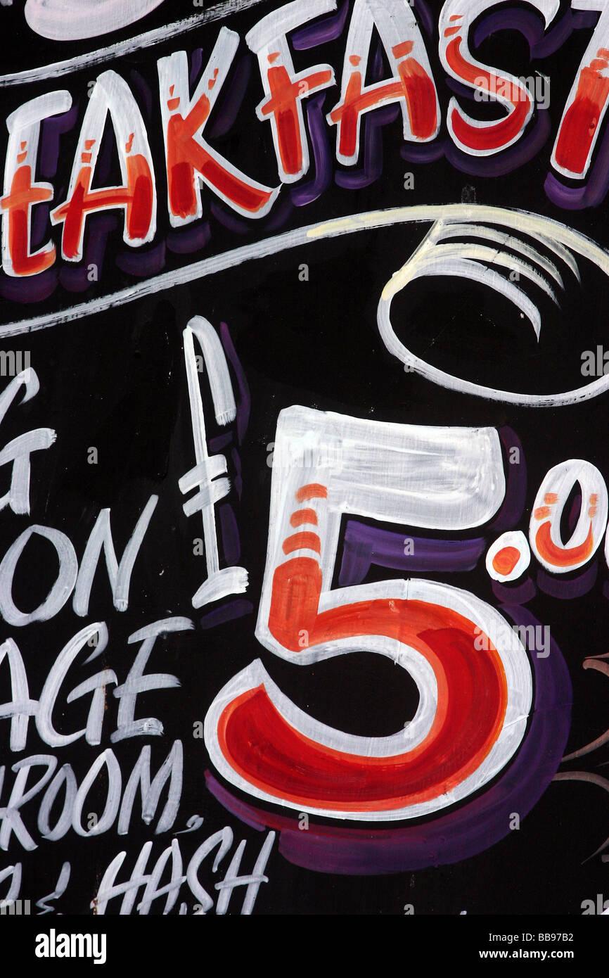 Cafe Sign Cornwall UK - Stock Image