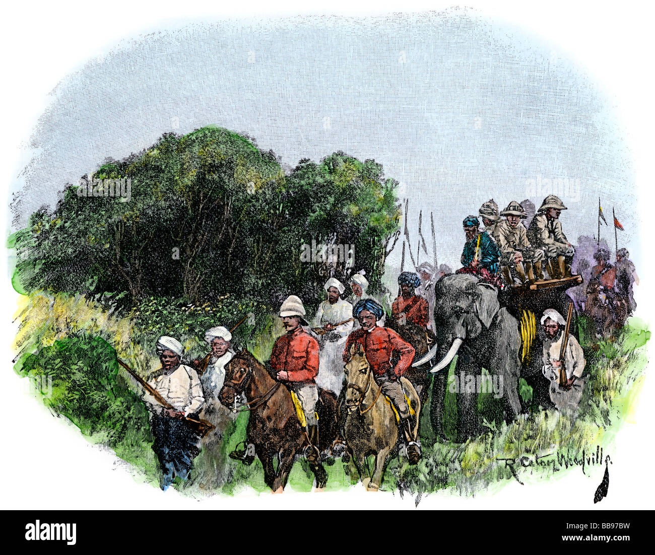 British hunting party in India en route to a tiger netting circa 1890. Hand-colored woodcut - Stock Image