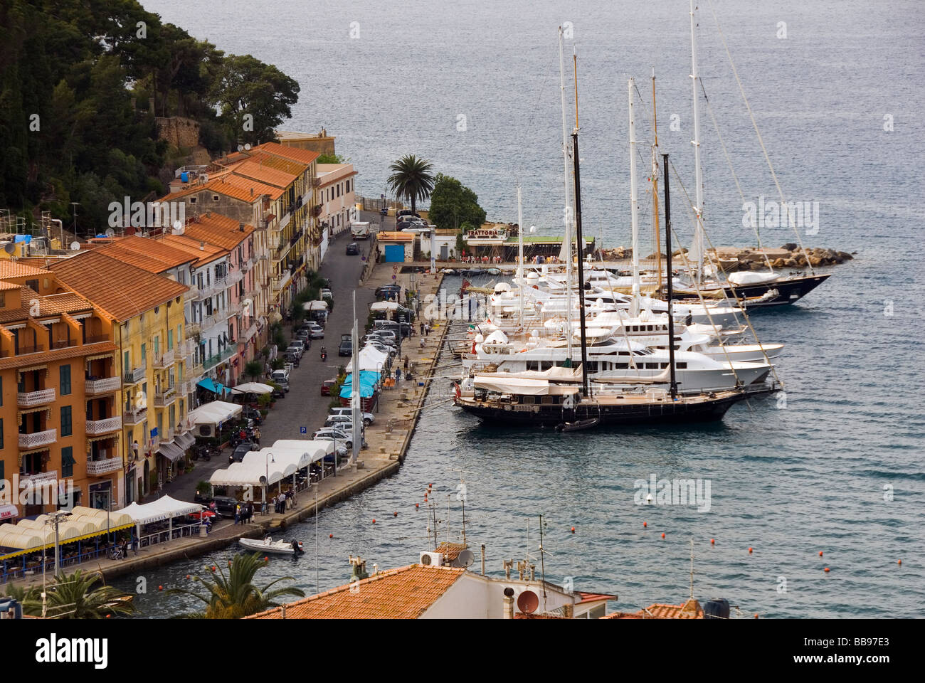 large sailing boats mored at Porto Santo Stefano on Monte Argentario, Grosetto Province Tuscany Italy - Stock Image