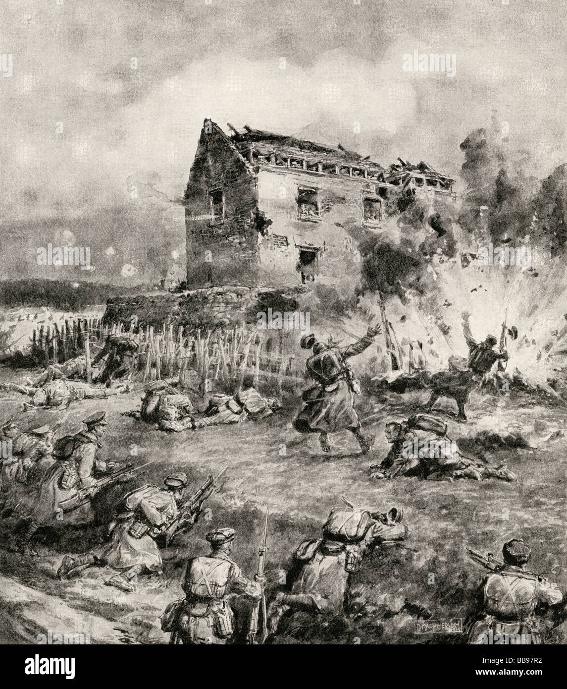 With the Die Hards at Neuve Chapelle. The storming of a blockhouse by the 2nd Middlesex . - Stock Image