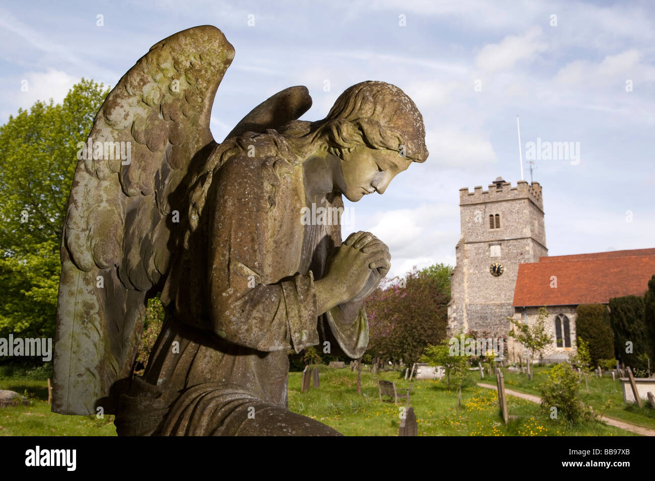England Berkshire Cookham Holy Trinity Parish Churchyard angel memorial painted by local artist Sir Stanley Spencer - Stock Image