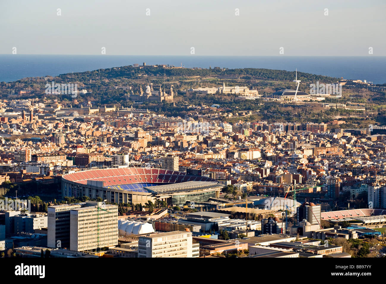 Camp Nou stadium and montjuic mmountain overview - Stock Image