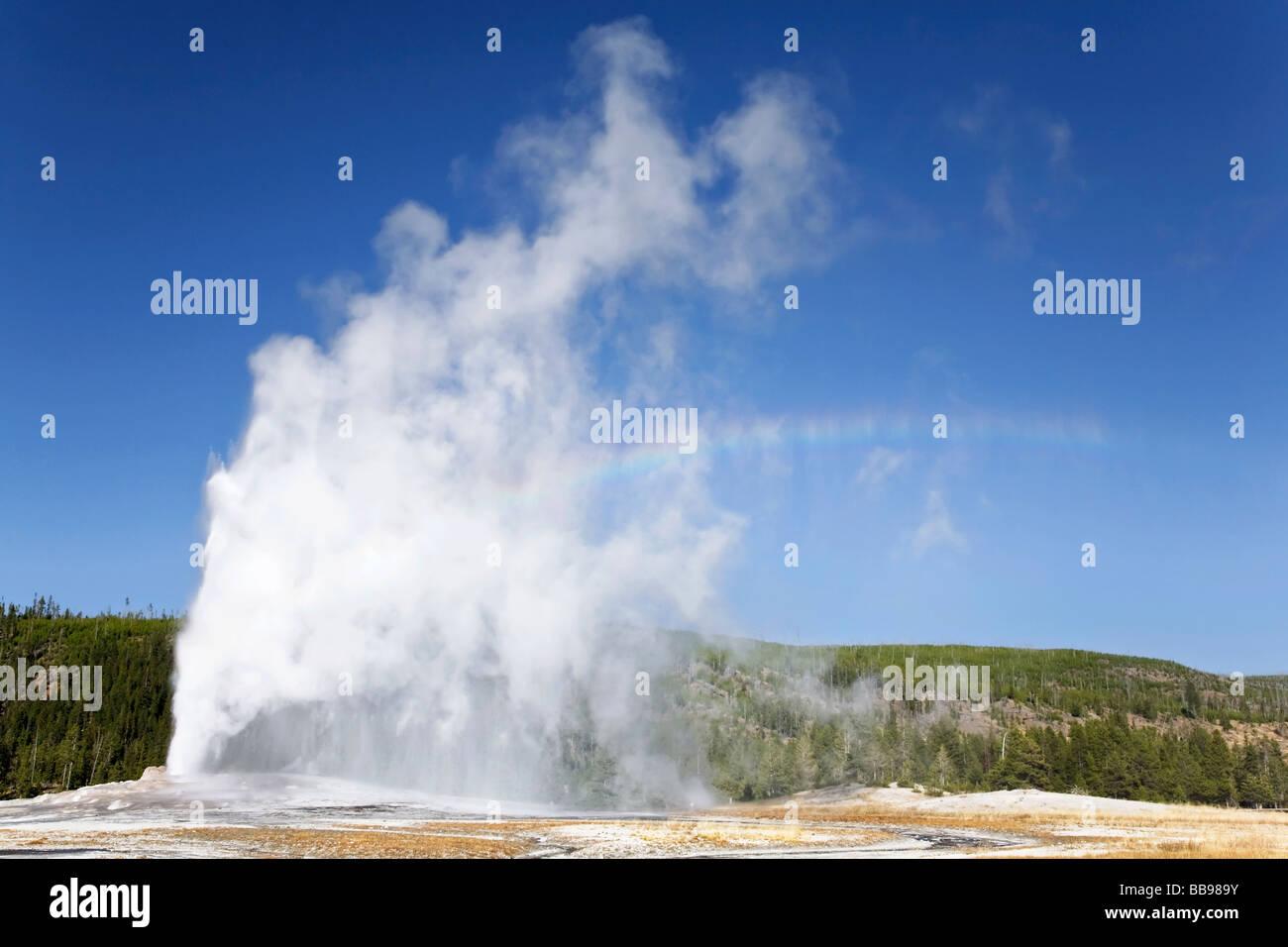Old Faithful erupting - Stock Image