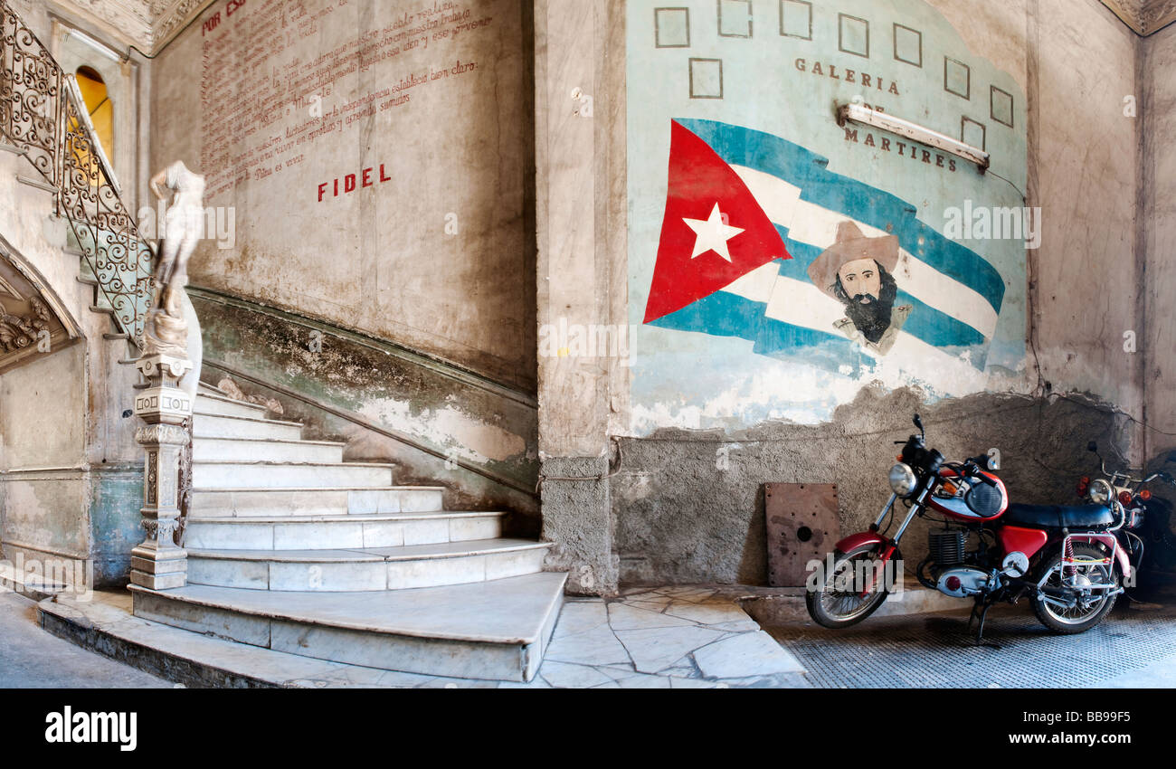 Entrance to La Guarida restaurant, Havana, Cuba, Caribbean - Stock Image