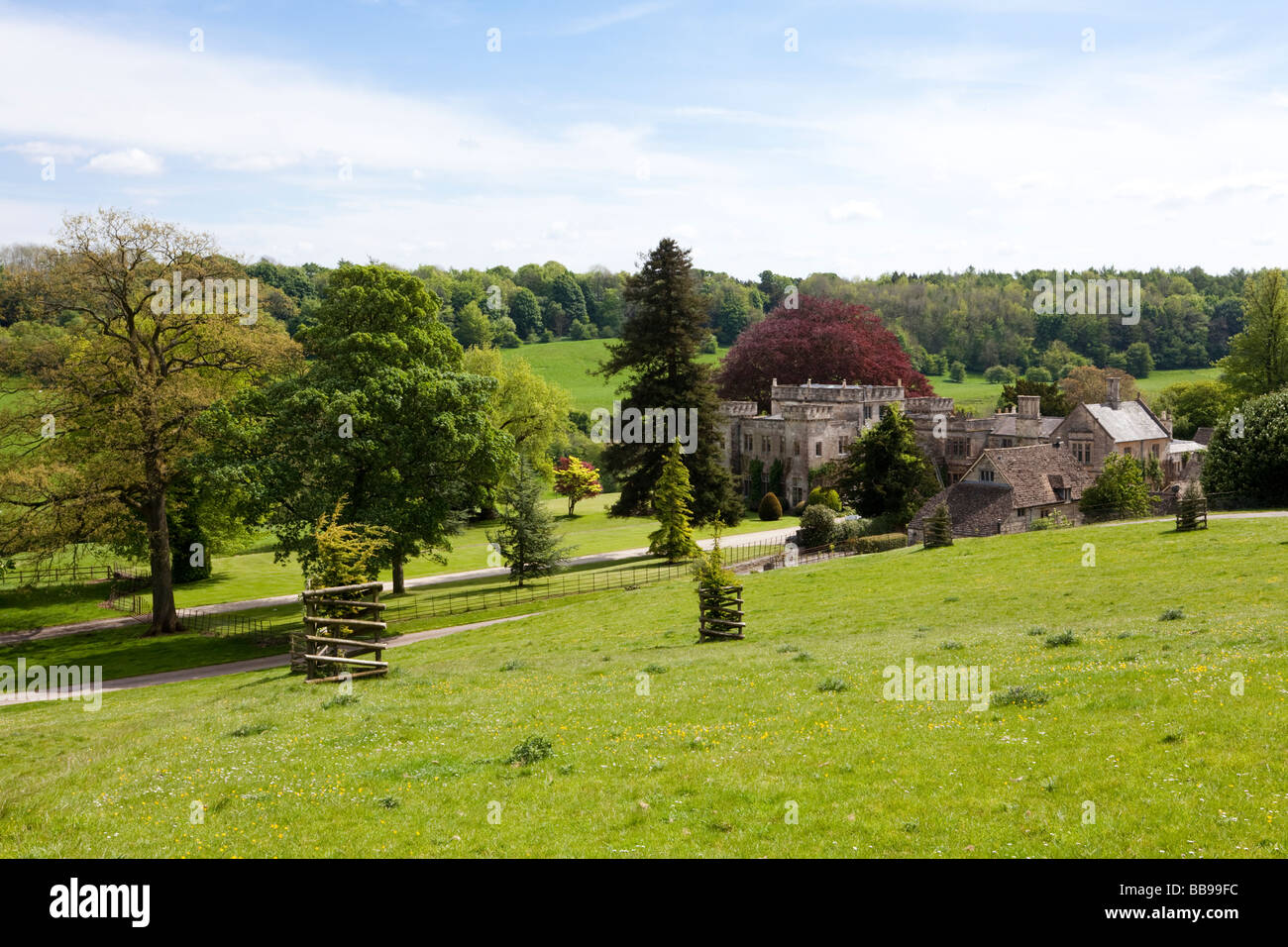 Lasborough Park, built in 1794 by James Wyatt for Edmund Estcourt, in the Cotswold Lasborough valley, Gloucestershire - Stock Image
