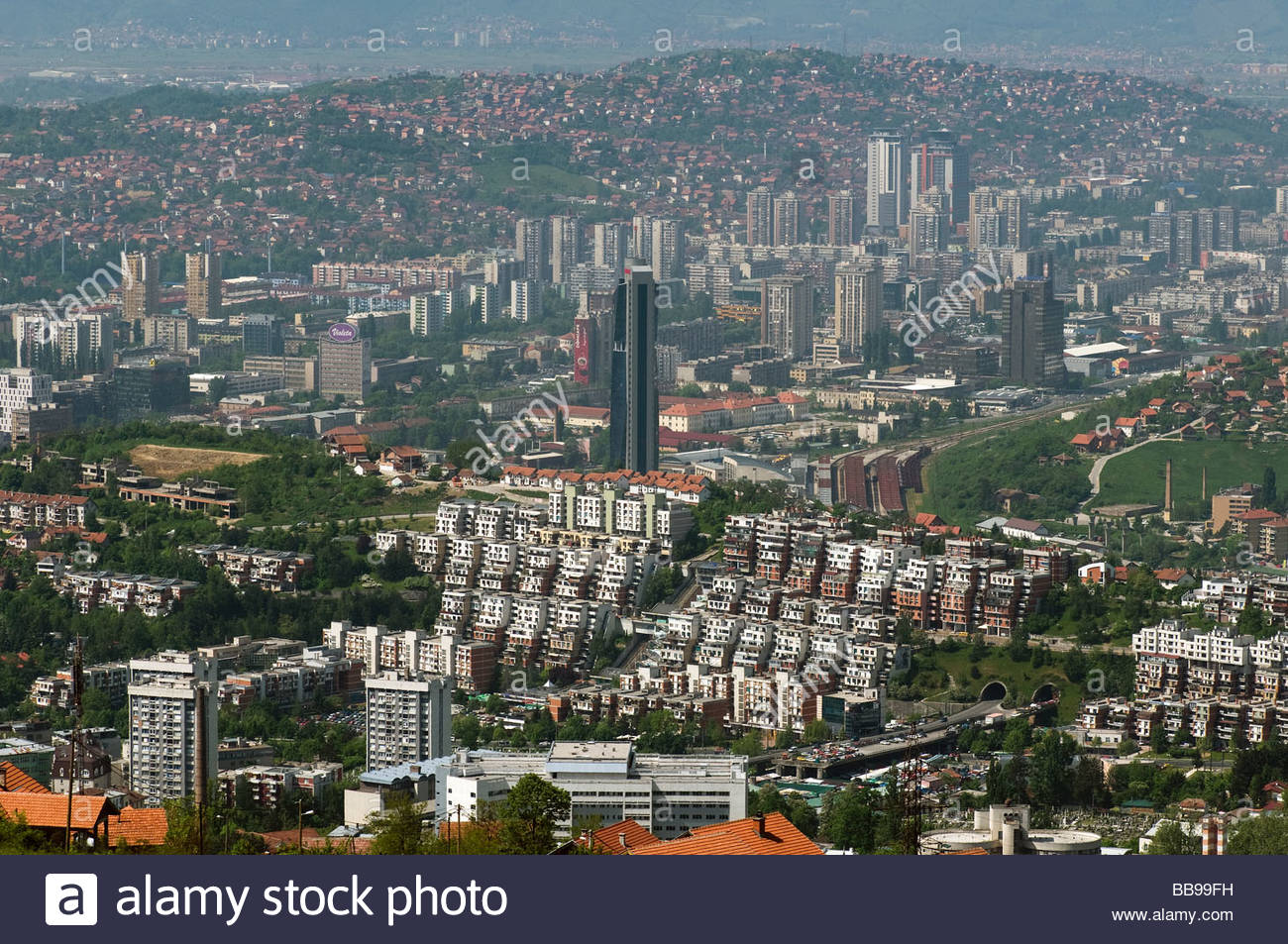 View of Sarajevo capital of Bosnia Herzegovina - Stock Image