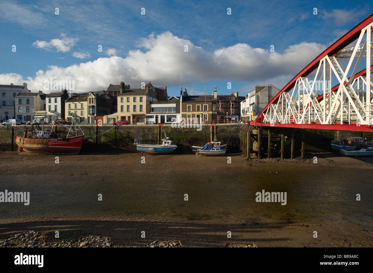 The Harbour and swingbridge at Ramsey in the Isle Of Man - Stock Image