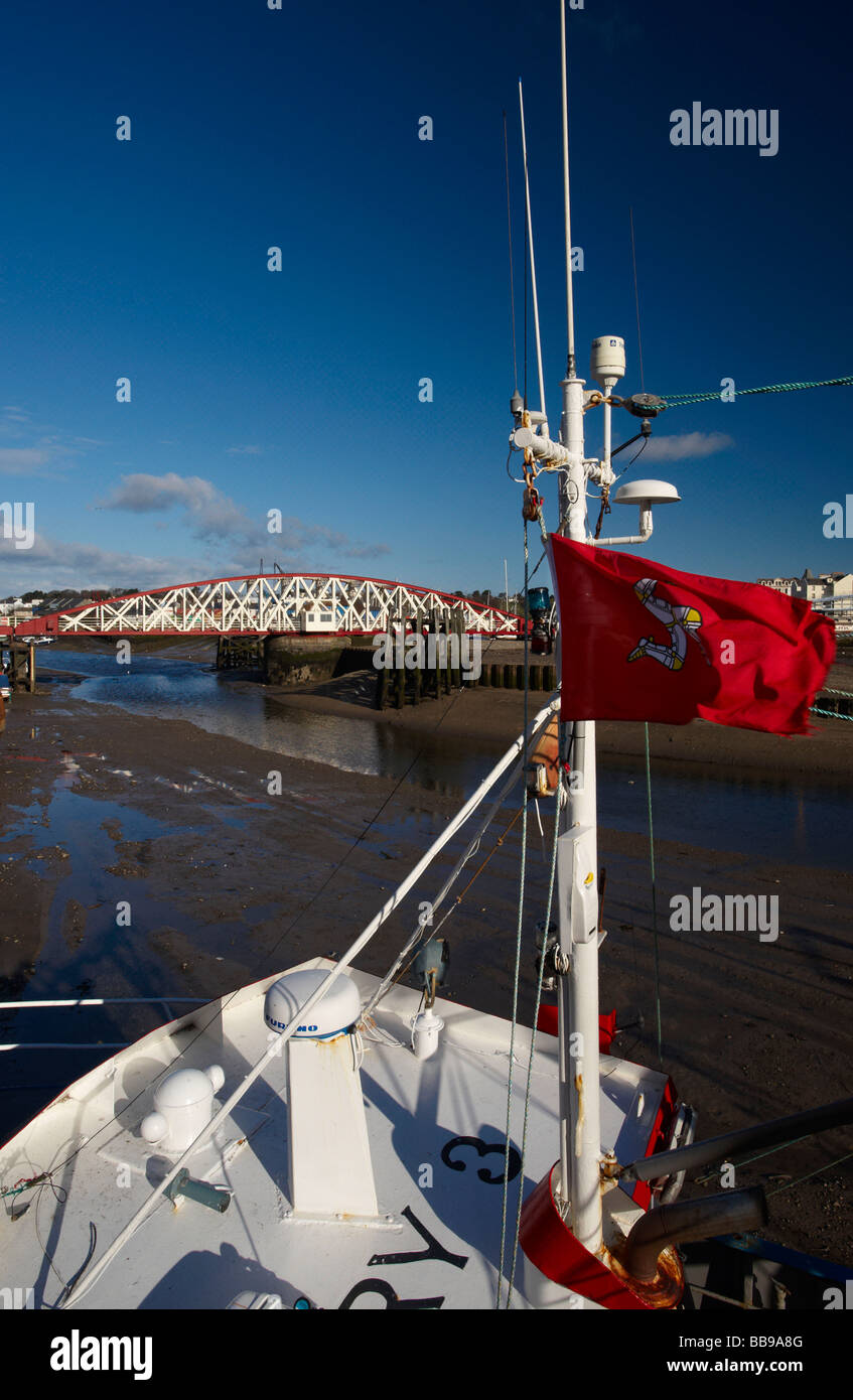 The Swingbridge in the Harbour at Ramsey Isle Of Man - Stock Image