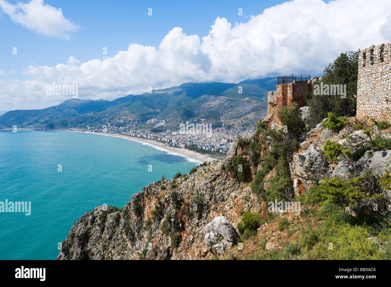 View over Kleopatra Beach from the Inner Castle (Ic Kale), Alanya, Mediterranean Coast, Turkey - Stock Image