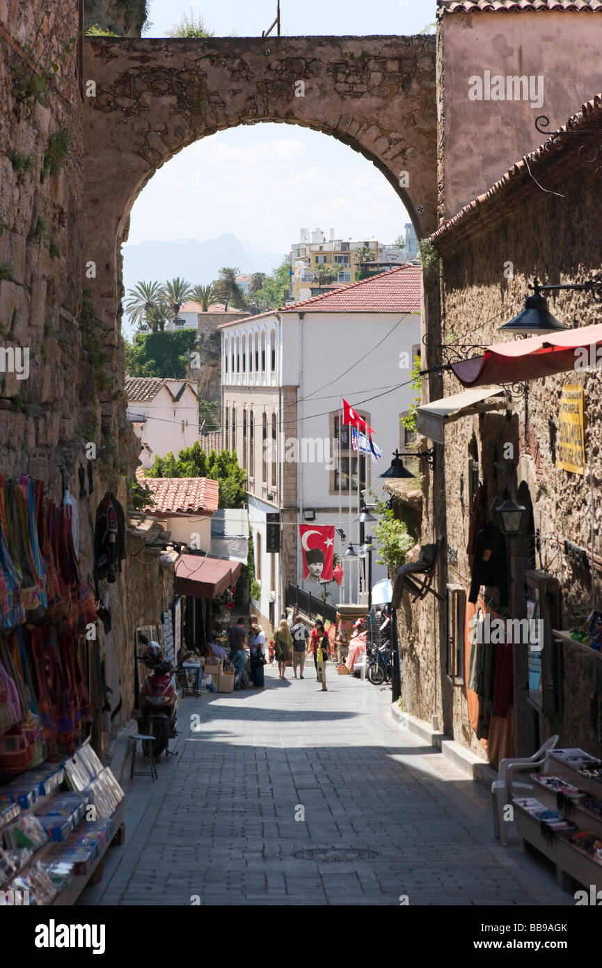 Typical street and shops in Kaleici (the OldTown) Antalya, Mediterranean Coast, Turkey - Stock Image