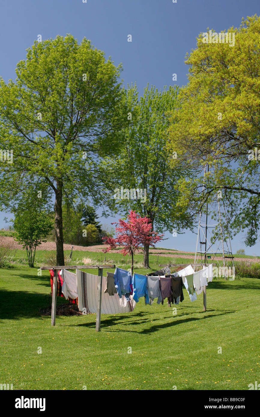 Line drying the wash on a spring day - Stock Image