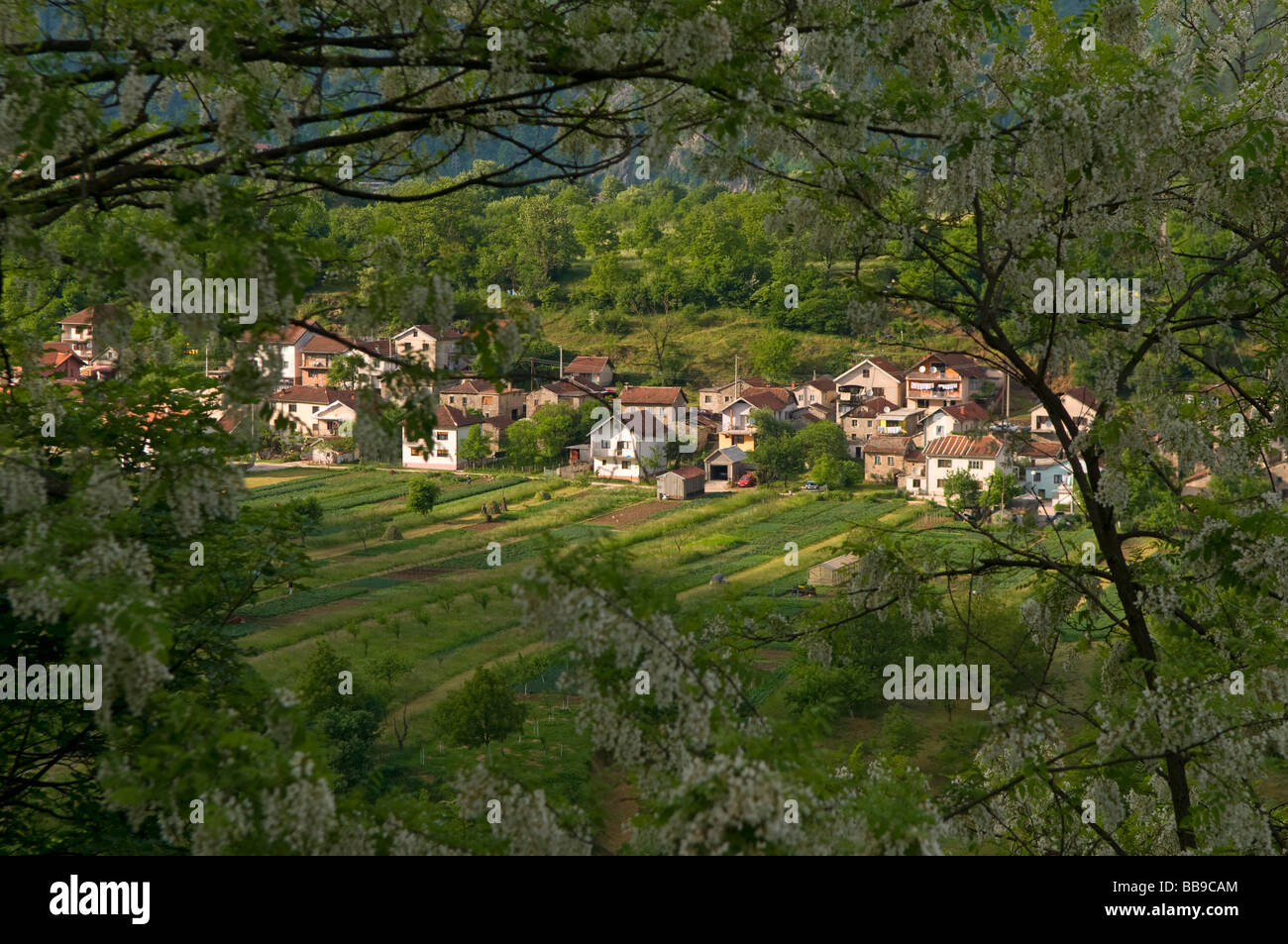 Scenic view of a village in northern Bosnia Herzegovina - Stock Image
